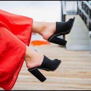 Black Studded Mule Heel Sandal